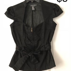 Dressy black top with belt- medium